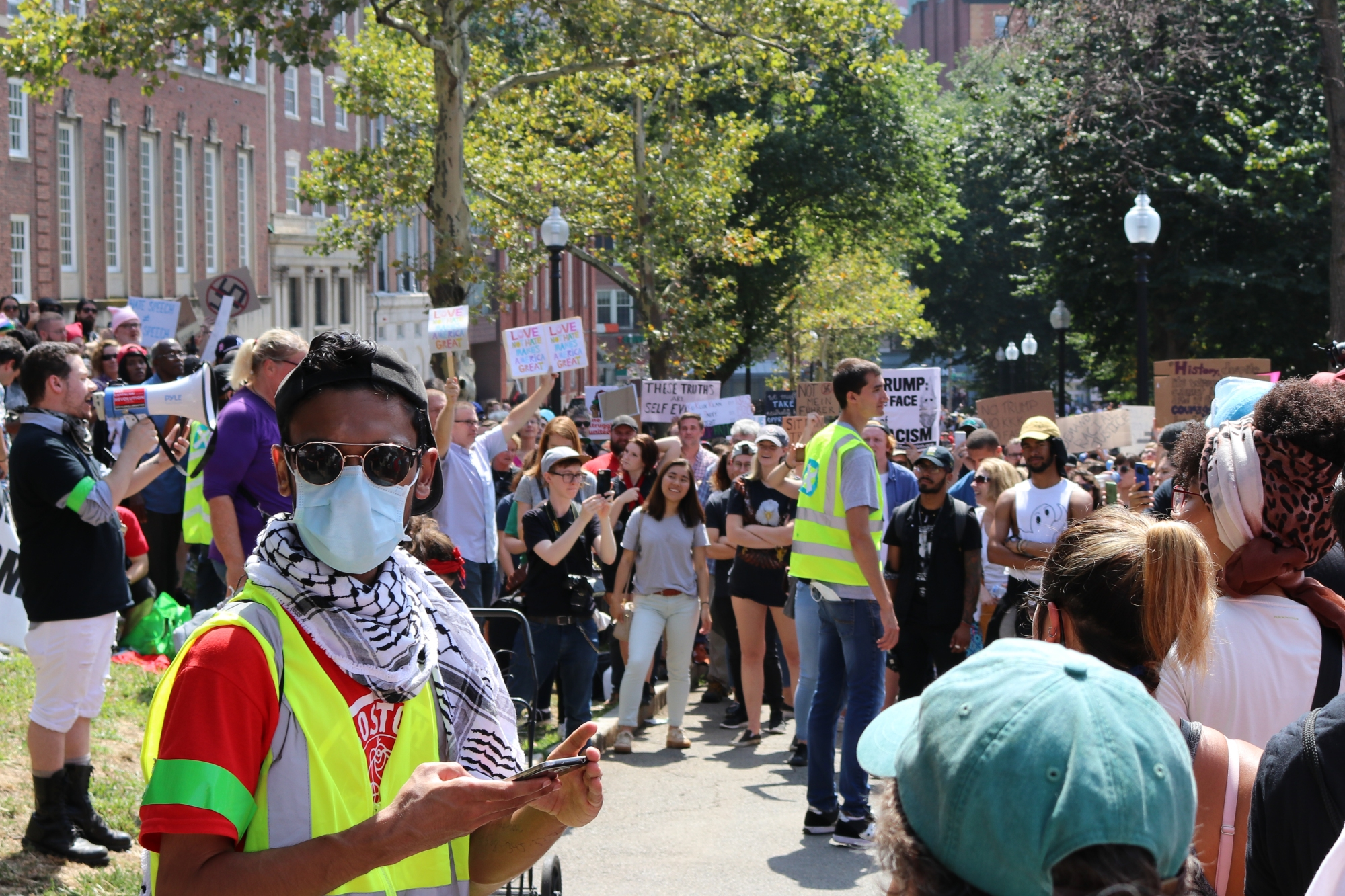 A Boston DSA members marshal's at last year's counter-protests rally