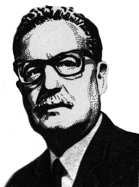 Image of Salvador Allende from a 1973 Soviet Stamp